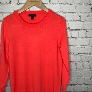 {J. Crew} sz M orange three quarter sleeve sweater